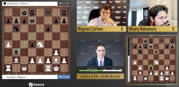 Nakamura Hikaru és Magnus Carlsen egy online sakktornán 2020. augusztus 17-én.