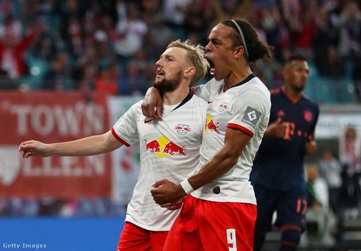 Emil Forsberg és Yussuf Poulsen egy 2019 szeptemberi meccsen