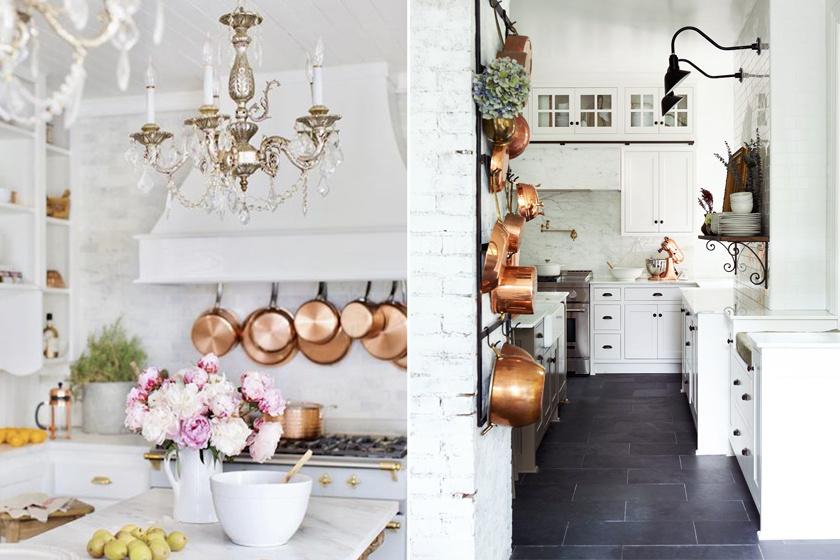 A francia vidéki stílusú konyha világos, a krém- és a fehér színek dominálnak. E színekkel tökéletes kontrasztot alkotnak a sötét árnyalatú, kovácsoltvas elemek. Az rezes árnyalat elmaradhatatlan: mivel ez manapság divatos, könnyen elérhetők az rézszínű edények.