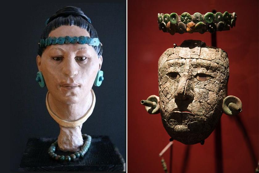 A csontok alapján készült arcrekonstrukció és a maszk, amit a sírban találtak.