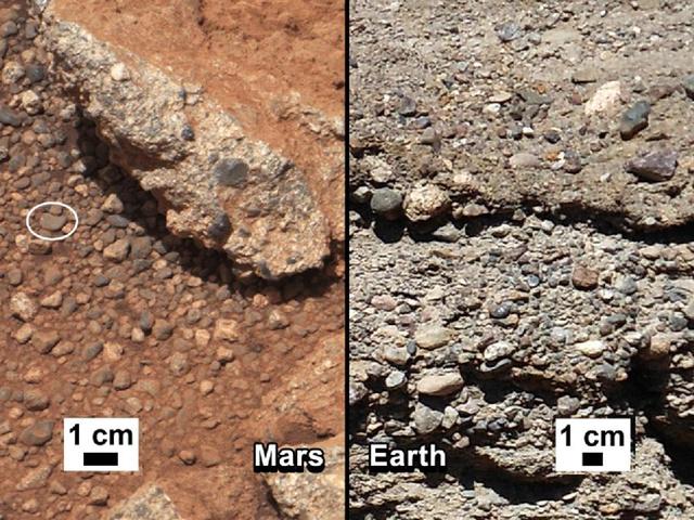 Balra a Marson talált folyómeder, jobbra hasonló kőzetek - szintén egy kiszáradt folyómederből - a Földön