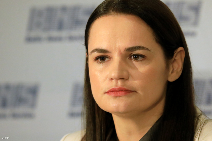 Szvetlana Tyihanovszkaja vilniuszi sajtótájékoztatóján 2020. augusztus 21-én.