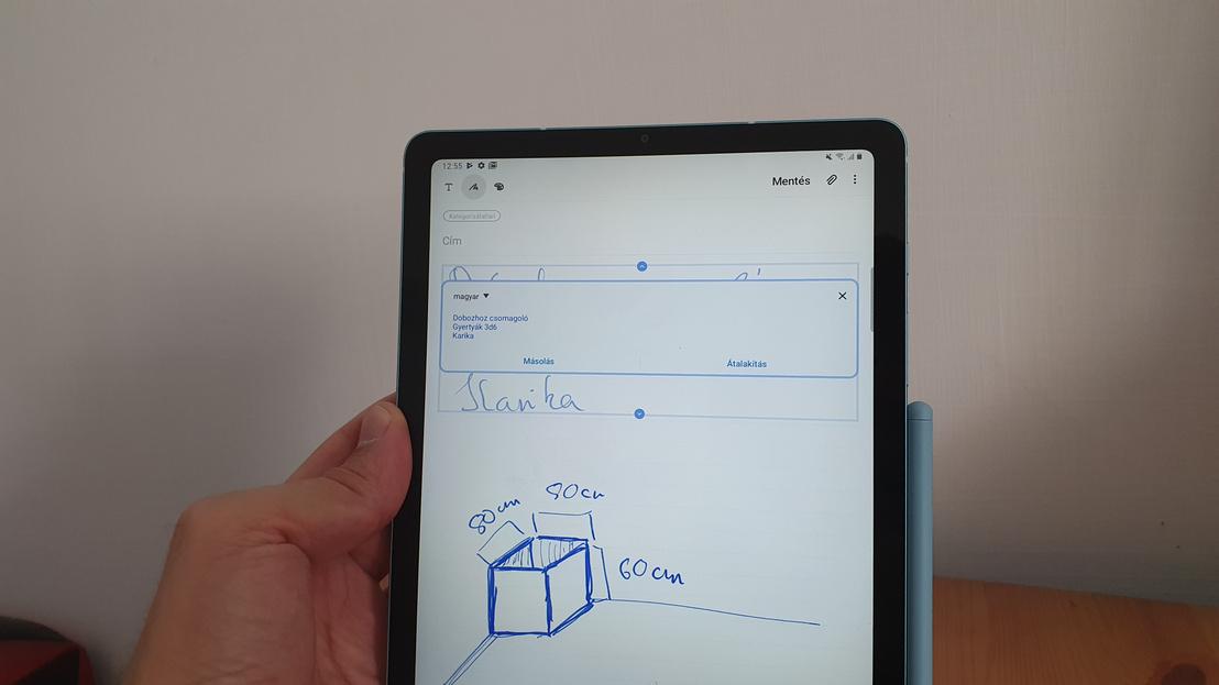 Samsung Galaxy Tab S6 Lite az oldalára mágnesesen feltapadó tollal
