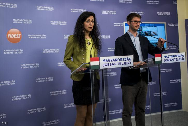 Koncz Zsófia és Böröcz László a Provokátorok a március 15-i ünnepségen címmel tartott sajtótájékoztatón az Országgyűlés Irodaházában Budapesten 2015. március 18-án.