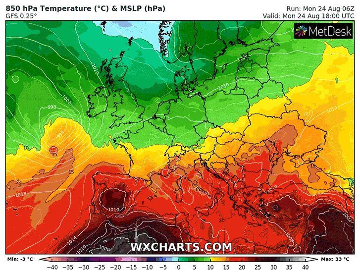 Az eddigi helyzetet felváltva egy a Brit-szigetek felett örvénylő ciklon hidegfrontja vonul át felettünk, mely mögött már sarkvidéki eredetű hideg áramlik a kontinens belseje felé. Magassági hőmérséklet előrejelzés.
