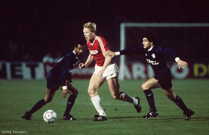 Jean Tigana, Ronald Koeman és Jean-Marc Ferreri a Bordeaux és a PSV Eindhoven mérkőzésen 1988. március 2-án, Bordeaux-ban