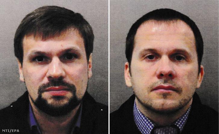 A londoni rendőrség által 2018. október 8-án közreadott képen a Ruszlan Bosirov álnéven utazó Anatolij Vlagyimirovics Csepiga orosz ezredesről (b) és az Alekszandr Petrov álnevű Alekszandr Jevgenyjevics Miskinről. A Bellingcat brit oknyomozó csoport ezen a napon hozta nyilvánosságra hogy a Szkripal-ügy második gyanúsítottjának valódi neve Miskin aki az orosz katonai hírszerzés (GU) katonaorvosaként dolgozott.