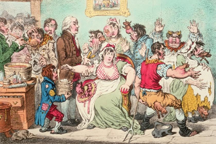 James Gillray karikaturista gúnyrajza az új eljárás ellen (1802). Az oltóközpontban játszódó jeleneten Jenner épp végrehajtja a beavatkozást.