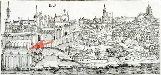 A Várkert Bazár helyén álló rejtélyes építmény ábrázolása az 1483-as Schedel-féle Világkrónikában