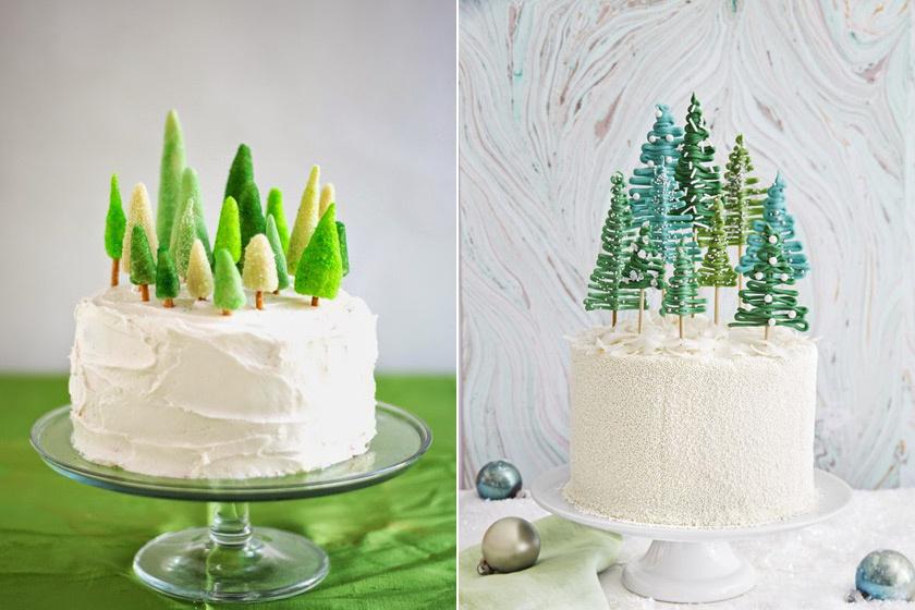 Hófödte táj és örökzöld fenyőfa - A fehér krémmel bevont tortára kétféleképpen készülhet a pici fenyő. Marcipánból is megformázható, amit színezett kristálycukorba kell hempergetni, de olvasztott csokiból is könnyedén elkészíthető, ha hurkapálcára csurgatod, majd hagyod megszilárdulni.