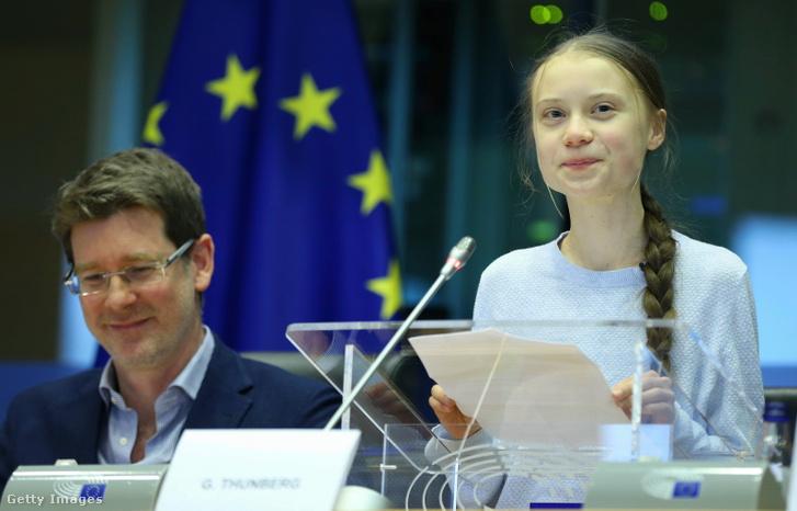 Greta Thunberg az Európai Parlamentben 2020 március 4-én.