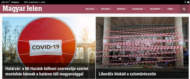 A Magyar Jelen címlapja, 2020. szeptember 1.
