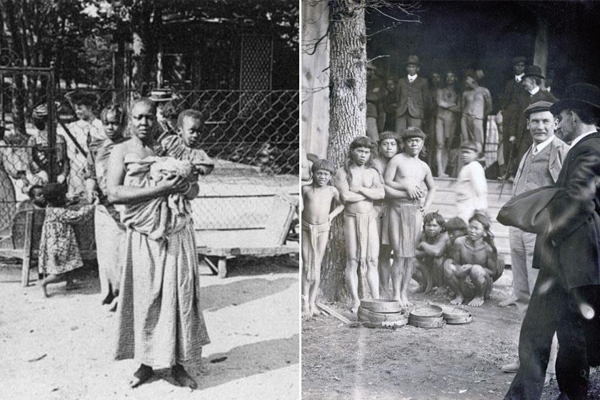 Balra: afrikai nő a németországi Negro village-ben. Jobbra: Fülöp-szigeteki emberek az 1904-es St. Louis-i világkiállításon.