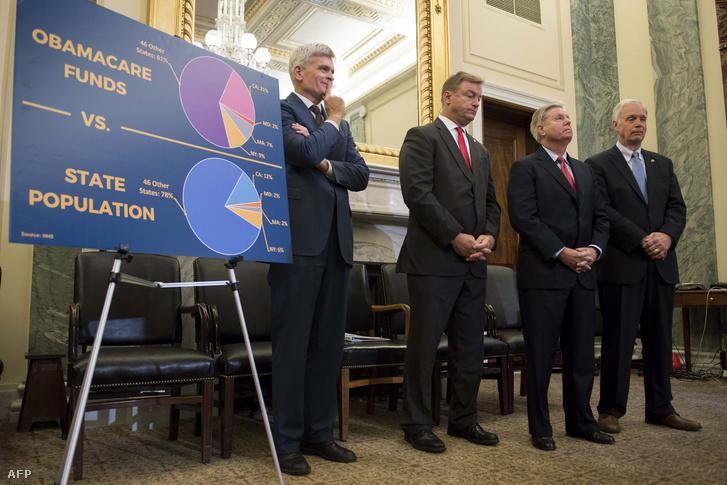 Lindsey Graham, Bill Cassidy, Dean Heller és Ron Johnson szenátorok bejelentik az Obamacare hatályon kívül helyezéséről és helyettesítéséről szóló törvényeiket Washingtonban 2017. szeptember 13-án AFP
