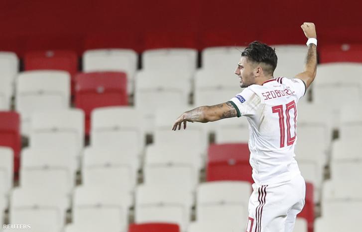 Szoboszlai Dominik ünnepli gólját a Törökországi elleni mérkőzésen