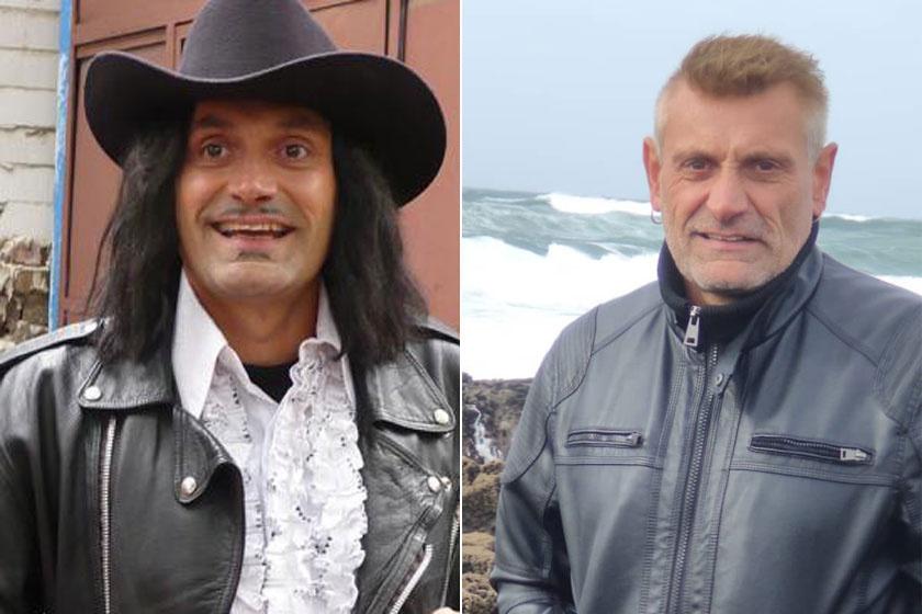 Sipos Peti a csapat énekese. A bal oldali képen a Pityu TV című 2007-es paródiában látható, a jobbon 53 évesen.