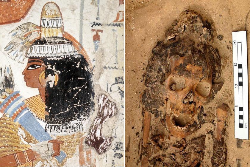 A tölcsér egy képi ábrázolása, és az amarnai múmia, egy valódival.