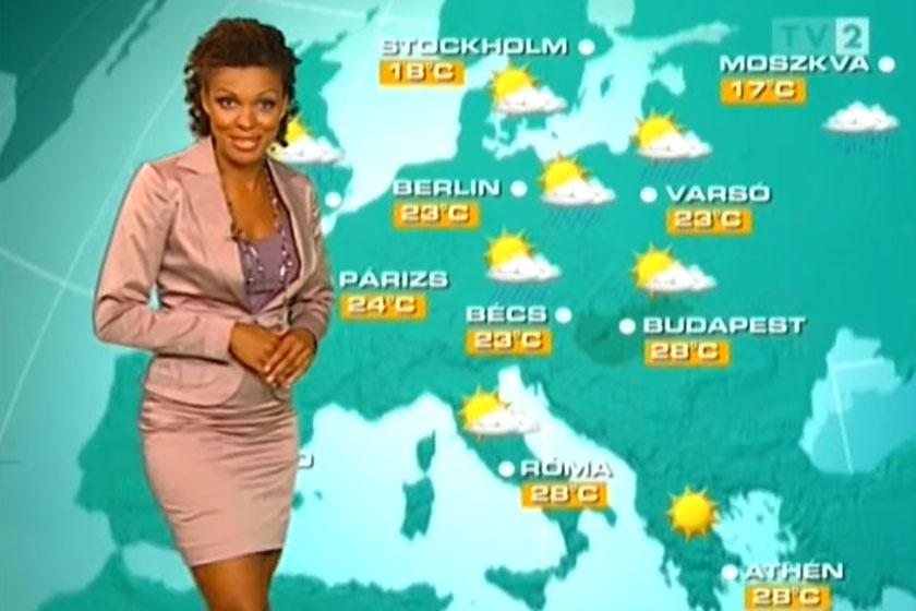Onyutha Judit 2008 augusztusában a TV2 időjósaként.