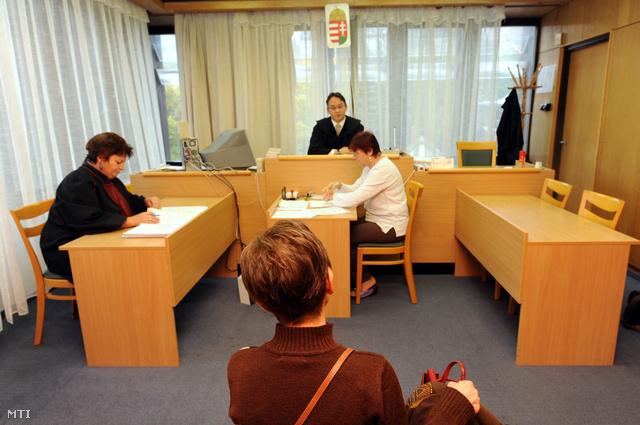 Tribuszer Zoltánné (háttal) az ellene a hatóság félrevezetése miatt indult büntetőügye tárgyalásán a Komlói Városi Bíróságon.