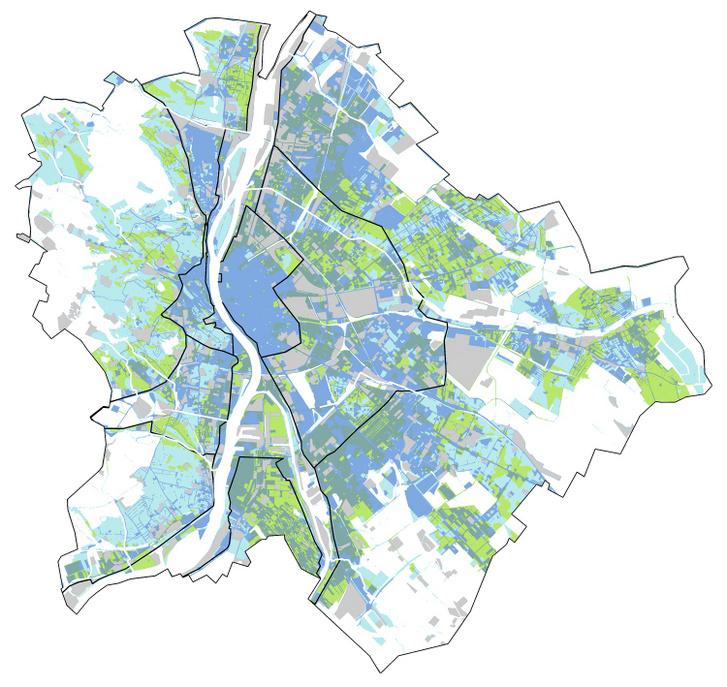 Szikkasztási, visszatartási és párologtatási potenciálterületek Budapesten (világoskék területek: vízvisszatartás; világoszöld területek: szikkasztás és vízvisszatartás; sötétebb kék területek: vízvisszatartás és párologtatás; sötétebb zöld területek: szikkasztás, vízvisszatartás és párologtatás)