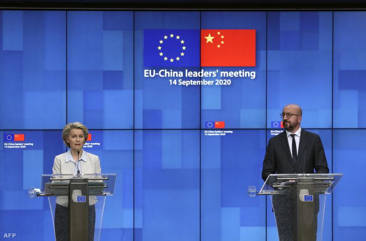 Ursula von der Leyen és Charles Michel sajtótájékoztatója az EU - Kína videós csúcstalálkozó után Brüsszelben 2020. szeptember 14-én