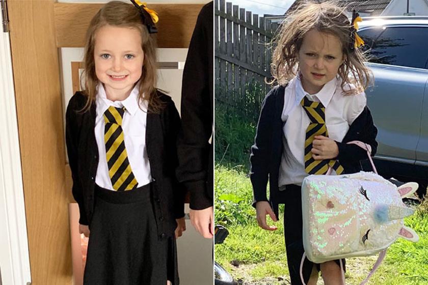 Ettől a kislánytól biztos nem mernénk megkérdezni, hogy milyen volt az első napja az iskolában.