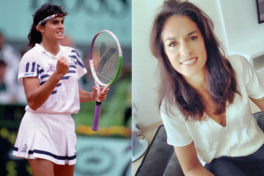 Gabriela Sabatini 1992-ben a francia nyílt teniszbajnokságon és ma, ötvenévesen.