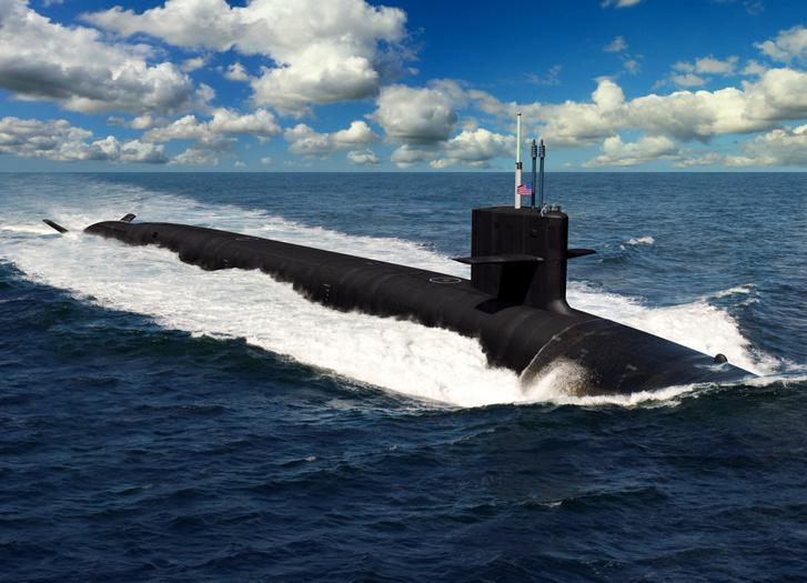 Művész által renderelt kép egy Columbia-osztályú SSBN tengeralattjáróról