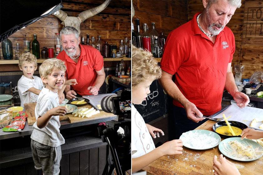 Sági Szilárd ikrei ötévesen már rutinosan mozognak édesapjuk mellett a konyhában.