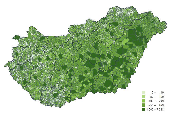 Agrárcenzus 2020 – érintett adatszolgáltatók száma településenként