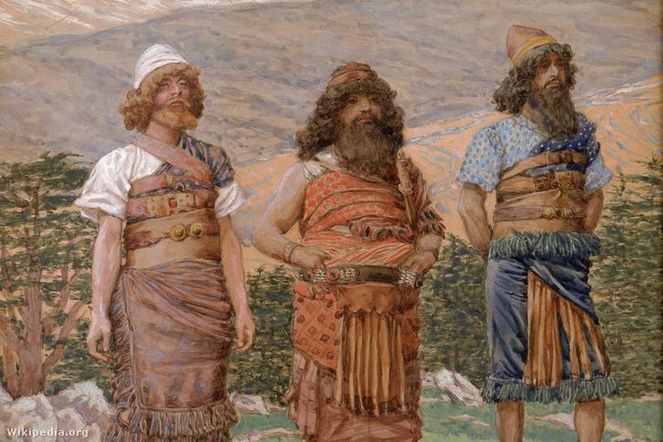 Pelaszgok a Bibliában. A képen Sém, Ham és Japhet. Ők Noé fiai nemzetségeik szerint. Sém, Noé legidősebb fia, az ősi Közel-Kelet nemzeteinek atyja volt. Peleg, Sém leszármazottja, az iraeliták egyik őse, a Biblia szerint 239 éves koráig élt