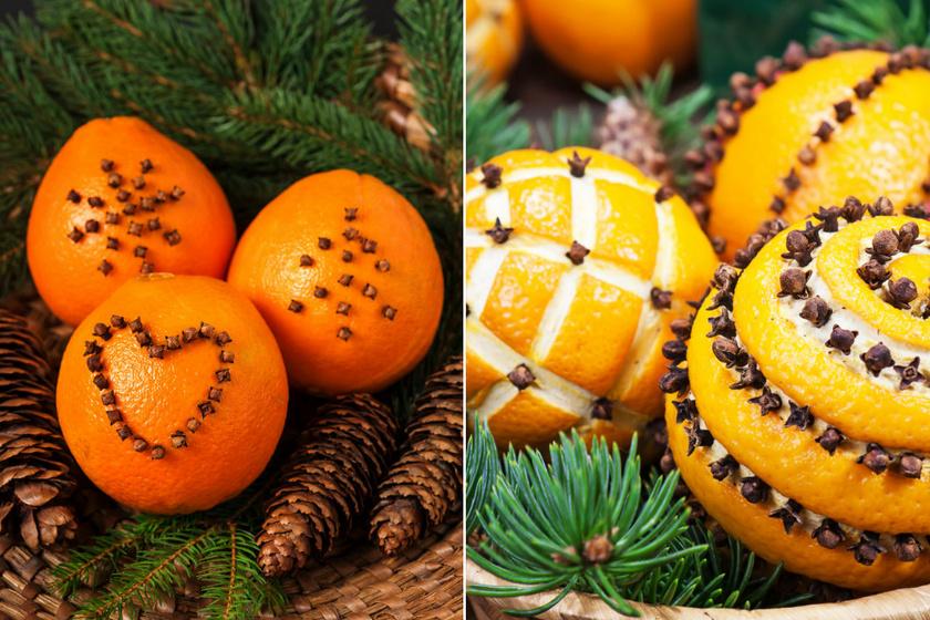 Szegfűszeggel díszített narancs