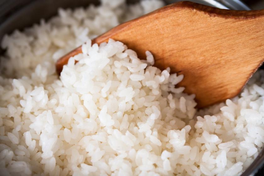 főtt rizs közeli belső