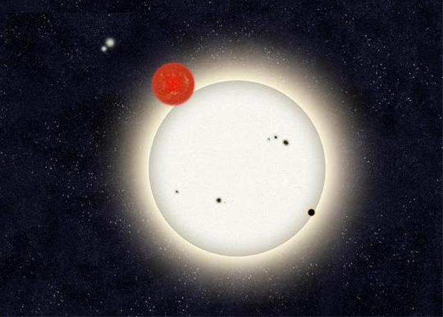 Fantáziarajz a PH1 rendszeréről. A bolygó éppen a szoros fedési kettős nagyobbik komponense előtt halad el. A jóval kisebb vörös törpe komponens irányában látható a rendszer másik csillagpárja, melynek távolsága a PH1-től mintegy ezer csillagászati egység.