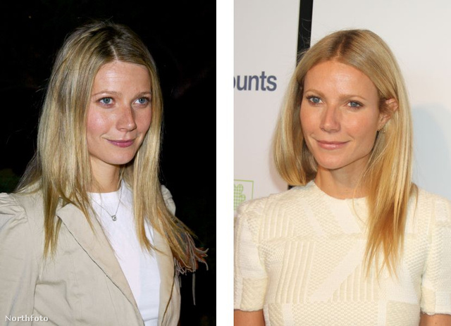 Gwyneth Paltrow 2002-ben (balra) és 2012-ben