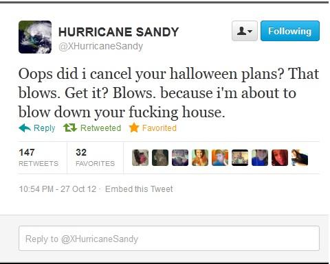 Twitter üzenetben fenyegeti New Yorkot Sandy a hurrikán