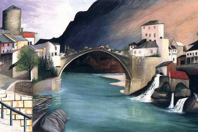 Csontváry Kosztka Tivadar: Római híd Mosztárban, 1903 (részlet)