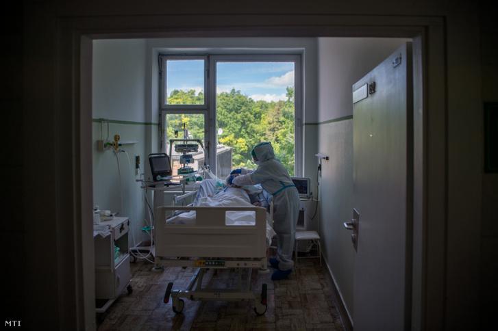 Védőfelszerelést viselő ápoló ellát egy beteget a koronavírussal fertőzött betegek fogadására kialakított intenzív osztályon az Országos Korányi Pulmonológiai Intézetben