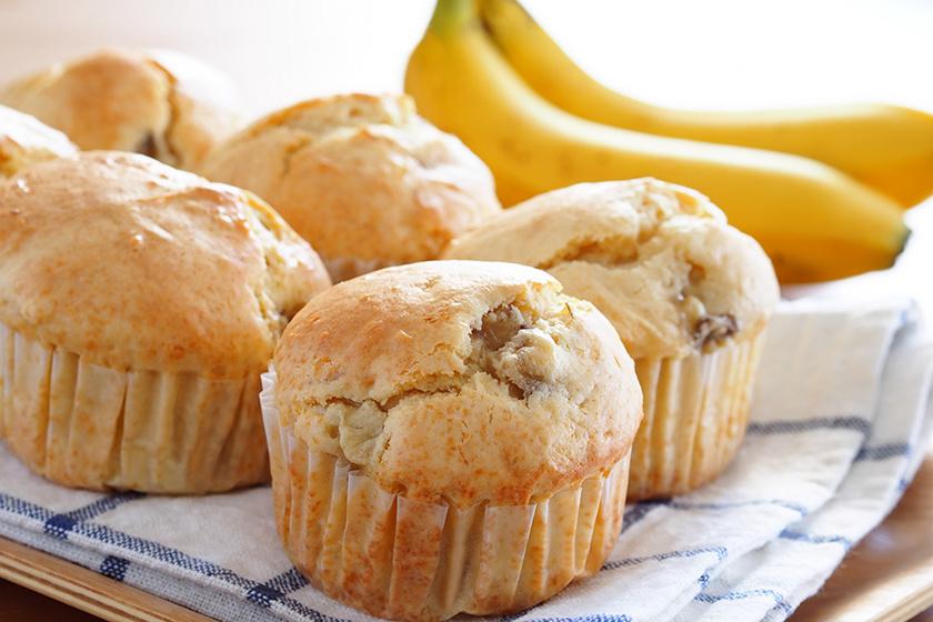 Szaftos, banános muffin: a puha tésztába fehér csokoládé is kerül