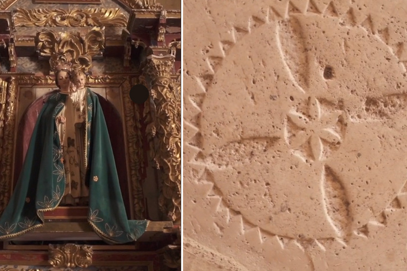 Bent a kápolnában áll egy Szűz Mária-szobor, melynek lábaihoz a templomosok egy életvirág-szimbólumot véstek. Ez a jelkép mintegy 60 ezer éve jelen van az emberiség történetében, ami újfent a lovagok ősi tudását bizonyítja, ám a virág messze nem csak ezért fontos.