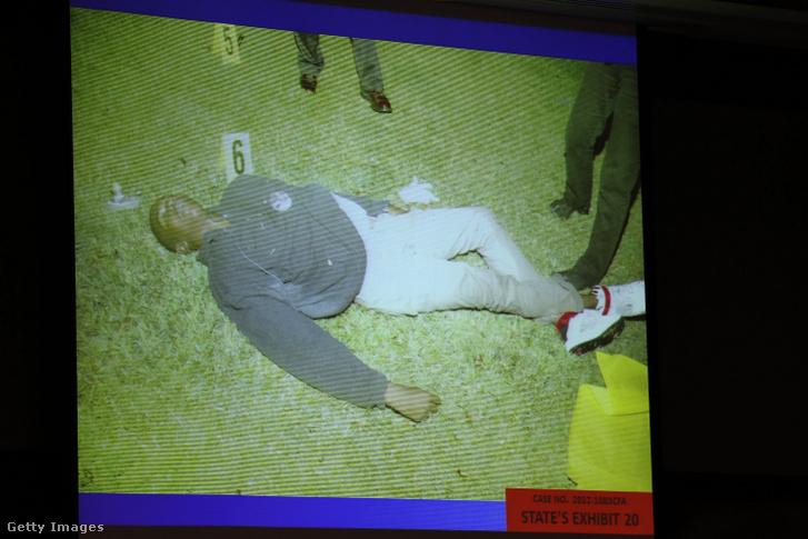 Trayvon Martin lelövésének fotója a bíróságon 2013. június 25-én, George Zimmerman tárgyalásán Sanfordban