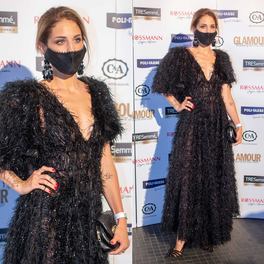 Nyári Dia színésznő a Daalarna Couture Rhapsody kollekciójának egy fekete, szőrős estélyi ruhájában feltűnő jelenség volt.