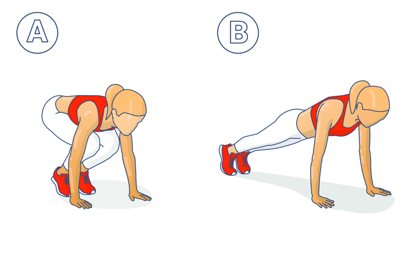 Álló helyzetből indítsd a tempós gyakorlatot: guggolj le, támaszd meg a kezeidet a talajon, mindkét lábaddal végezz kitörést, majd menj vissza guggolásba, és végül állj fel.