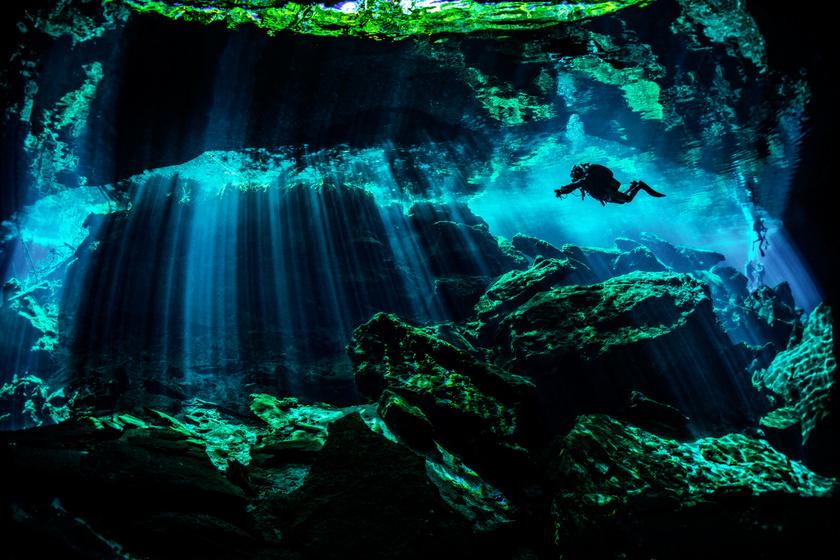 Hihetetlen látvány a tenger alatti folyó Mexikóban: fák és levelek is vannak a partján
