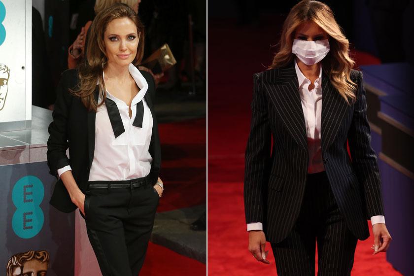 Valószínűleg Angelina Jolie 2014-es BAFTA-gálás szettje inspirálta Melania Trumpot, igaz, ő csíkos blézert és nadrágot viselt.