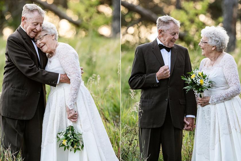 60 év után újra esküvői ruhájába bújt a 81 éves hölgy: varázslatos képek készültek az idős párról