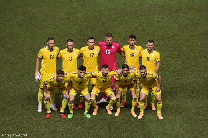 A koszovói futball válogatott a Moldova elleni mérkőzésen Parmában 2020. szeptember 3-án
