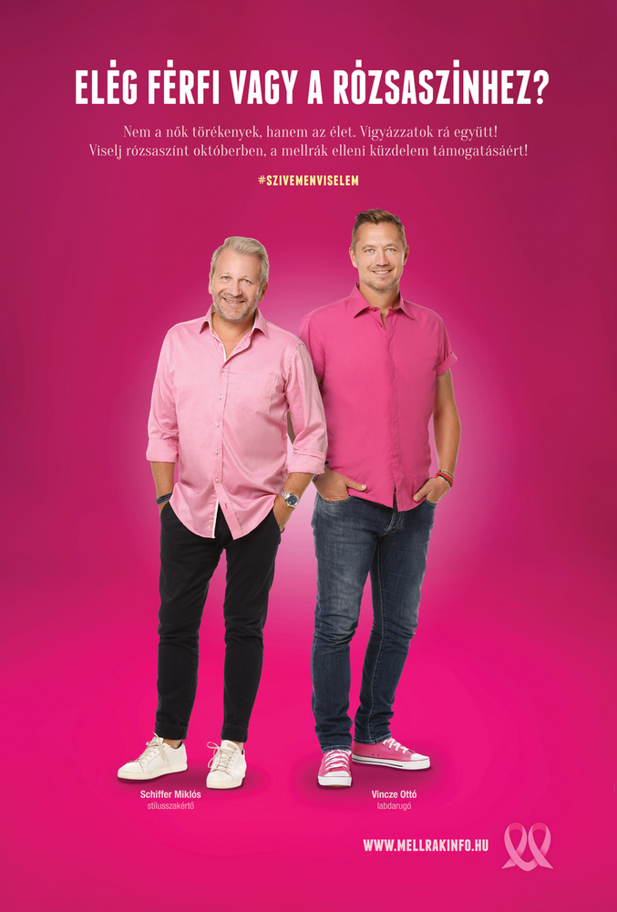 Elég férfi vagy a rózsaszínhez? #szivemenviselem névvel indított kampányt a Mellrákinfó egyesült a tavaly, azonos nevű kampányuk sikerén felbuzdulva idén is, melyben több ismert magyar férfi vállalt szerepet és öltözött rózsaszínbe.A kampány célja, hogy felhívja a nők figyelmét a rendszeres mammográfiai szűrés fontosságára, hiszen a korai stádiumban a mellrák rendkívül jó arányban gyógyítható