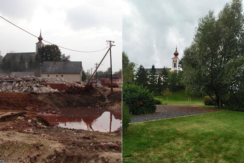 Kolontár temploma a vörösiszap-katasztrófa után, és a terület ma.