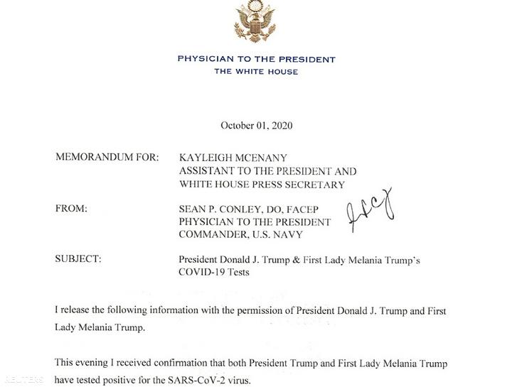 Fehér Ház orvosának levele, amelyben arról tájékoztat, hogy Donald Trump és felesége Melania Trump is koronavírussal fertőzöttek 2020. október 2-án